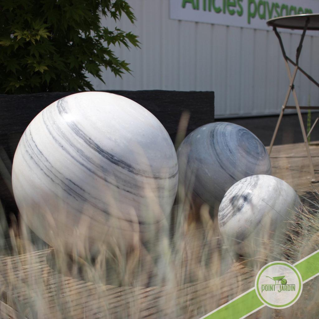 Boule marbrure blanc deco point jardin Boule jardin deco